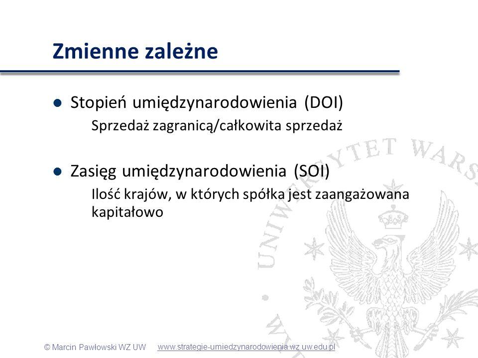 Zmienne zależne Stopień umiędzynarodowienia (DOI)