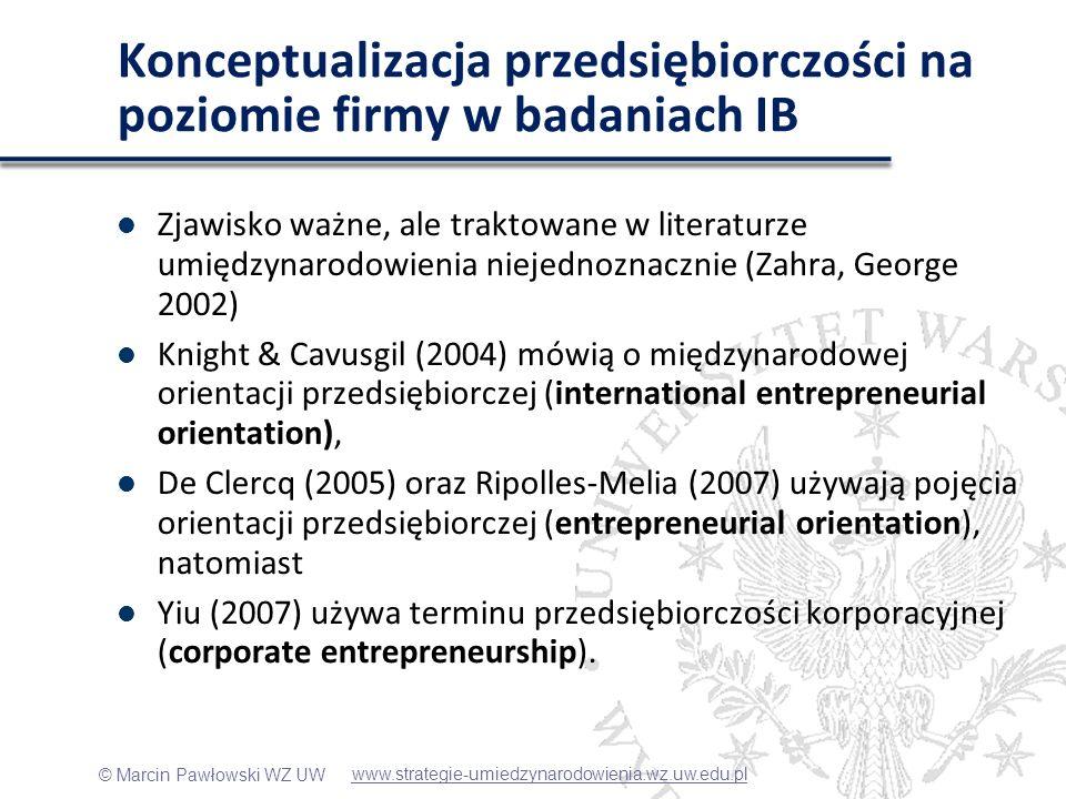 Konceptualizacja przedsiębiorczości na poziomie firmy w badaniach IB