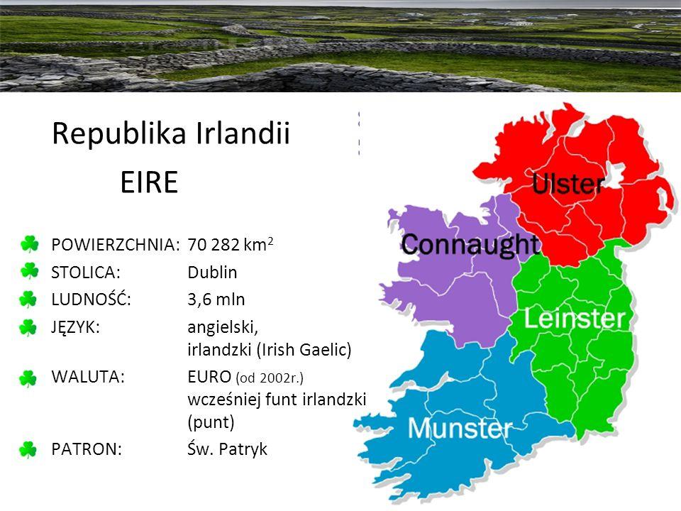 Republika Irlandii EIRE POWIERZCHNIA: 70 282 km2 STOLICA: Dublin