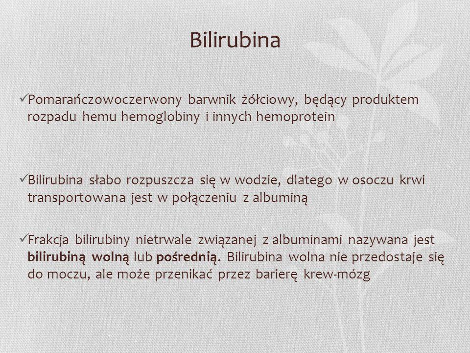Bilirubina Pomarańczowoczerwony barwnik żółciowy, będący produktem rozpadu hemu hemoglobiny i innych hemoprotein.