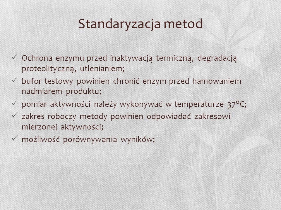 Standaryzacja metod Ochrona enzymu przed inaktywacją termiczną, degradacją proteolityczną, utlenianiem;