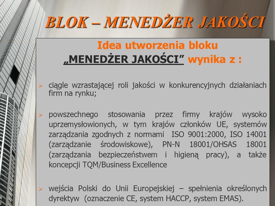 """""""MENEDŻER JAKOŚCI wynika z :"""