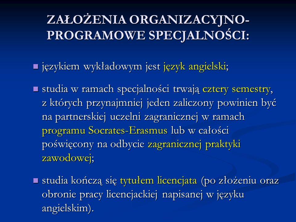 ZAŁOŻENIA ORGANIZACYJNO-PROGRAMOWE SPECJALNOŚCI: