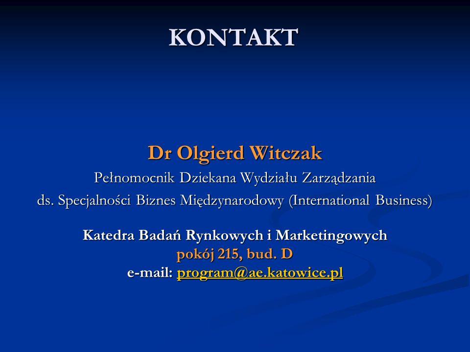 KONTAKT Dr Olgierd Witczak Pełnomocnik Dziekana Wydziału Zarządzania