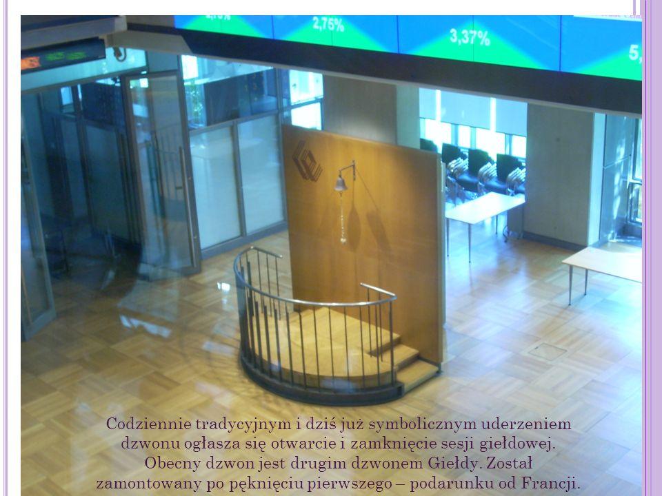 Codziennie tradycyjnym i dziś już symbolicznym uderzeniem dzwonu ogłasza się otwarcie i zamknięcie sesji giełdowej.
