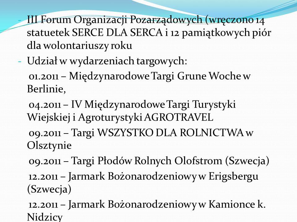 III Forum Organizacji Pozarządowych (wręczono 14 statuetek SERCE DLA SERCA i 12 pamiątkowych piór dla wolontariuszy roku