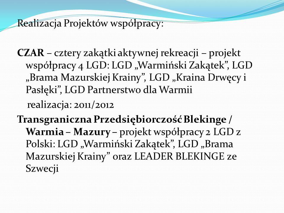 """Realizacja Projektów współpracy: CZAR – cztery zakątki aktywnej rekreacji – projekt współpracy 4 LGD: LGD """"Warmiński Zakątek , LGD """"Brama Mazurskiej Krainy , LGD """"Kraina Drwęcy i Pasłęki , LGD Partnerstwo dla Warmii realizacja: 2011/2012 Transgraniczna Przedsiębiorczość Blekinge / Warmia – Mazury – projekt współpracy 2 LGD z Polski: LGD """"Warmiński Zakątek , LGD """"Brama Mazurskiej Krainy oraz LEADER BLEKINGE ze Szwecji"""