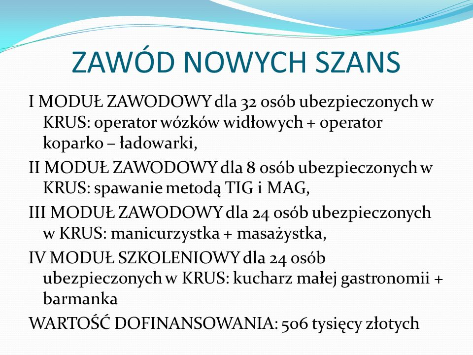 ZAWÓD NOWYCH SZANS