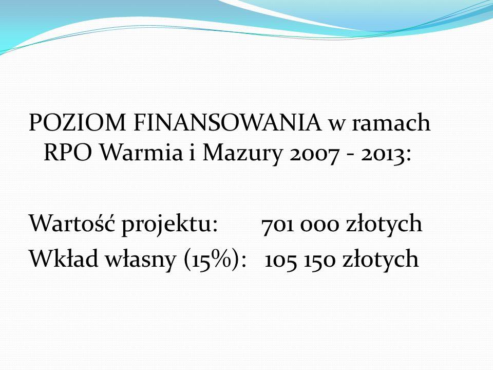 POZIOM FINANSOWANIA w ramach RPO Warmia i Mazury 2007 - 2013: