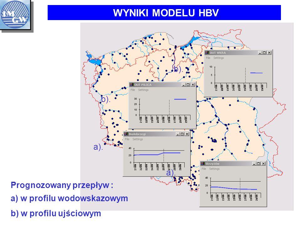 WYNIKI MODELU HBV b). b). a). a). Prognozowany przepływ :