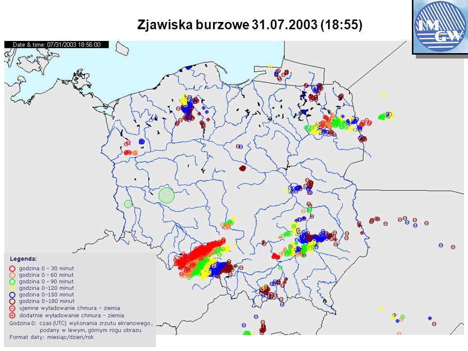 Zjawiska burzowe 31.07.2003 (18:55) OBSERVATION NETWOK