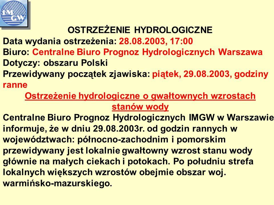 OSTRZEŻENIE HYDROLOGICZNE Data wydania ostrzeżenia: 28.08.2003, 17:00