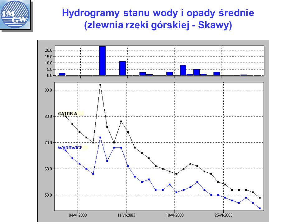 Hydrogramy stanu wody i opady średnie (zlewnia rzeki górskiej - Skawy)