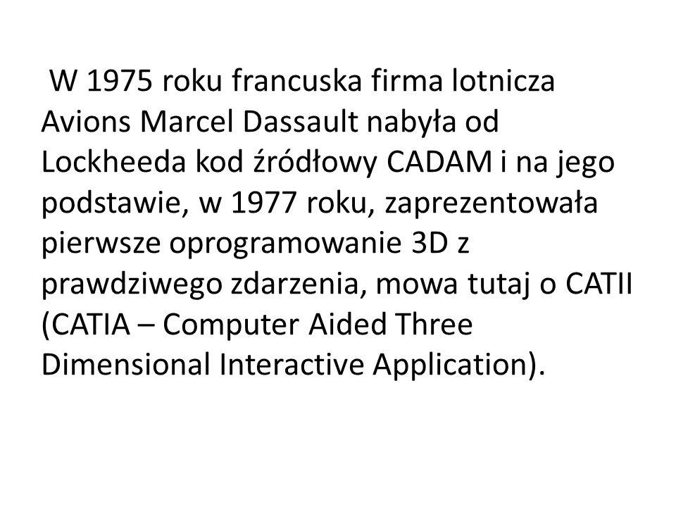 W 1975 roku francuska firma lotnicza Avions Marcel Dassault nabyła od Lockheeda kod źródłowy CADAM i na jego podstawie, w 1977 roku, zaprezentowała pierwsze oprogramowanie 3D z prawdziwego zdarzenia, mowa tutaj o CATII (CATIA – Computer Aided Three Dimensional Interactive Application).