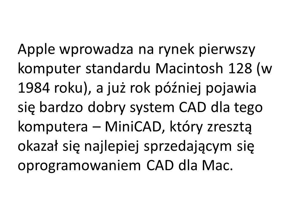 Apple wprowadza na rynek pierwszy komputer standardu Macintosh 128 (w 1984 roku), a już rok później pojawia się bardzo dobry system CAD dla tego komputera – MiniCAD, który zresztą okazał się najlepiej sprzedającym się oprogramowaniem CAD dla Mac.