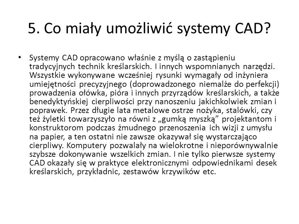 5. Co miały umożliwić systemy CAD