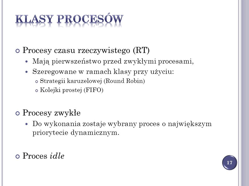 Klasy procesów Procesy czasu rzeczywistego (RT) Procesy zwykłe