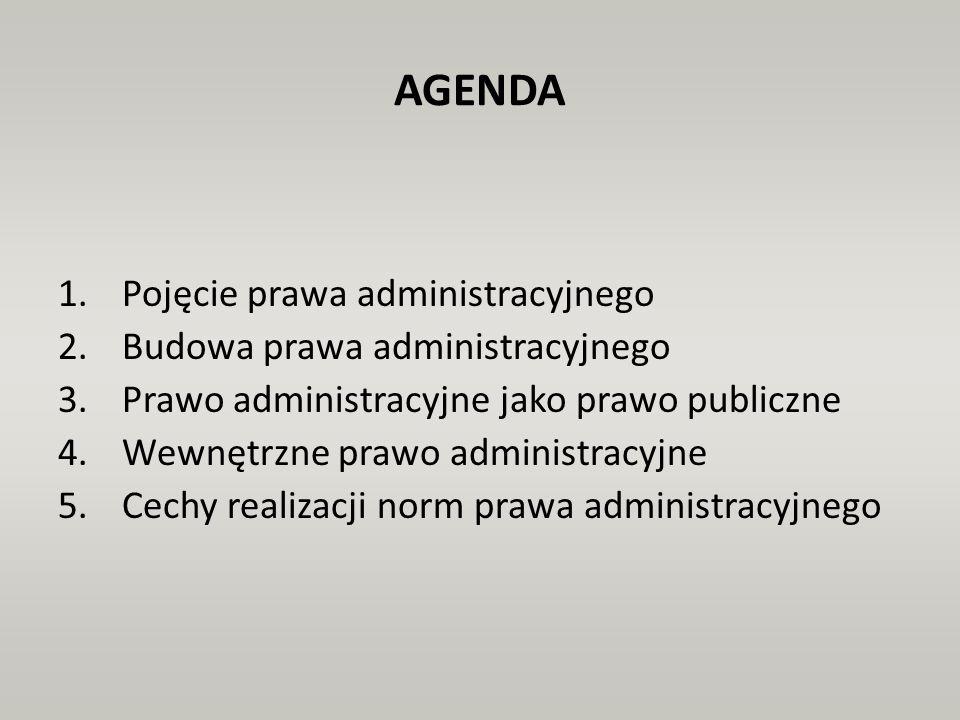 AGENDA Pojęcie prawa administracyjnego Budowa prawa administracyjnego