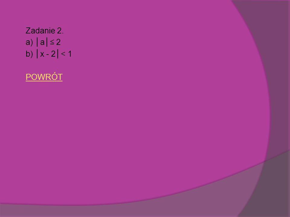 Zadanie 2. a) │a│≤ 2 b) │x - 2│< 1 POWRÓT