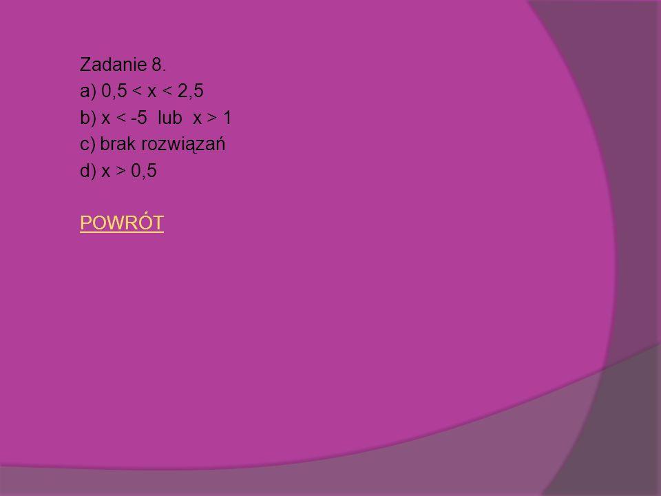 Zadanie 8. a) 0,5 < x < 2,5 b) x < -5 lub x > 1 c) brak rozwiązań d) x > 0,5 POWRÓT