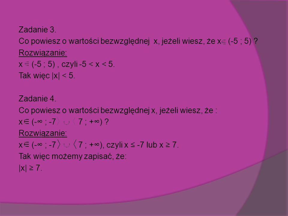 Zadanie 3. Co powiesz o wartości bezwzględnej x, jeżeli wiesz, że x (-5 ; 5) .