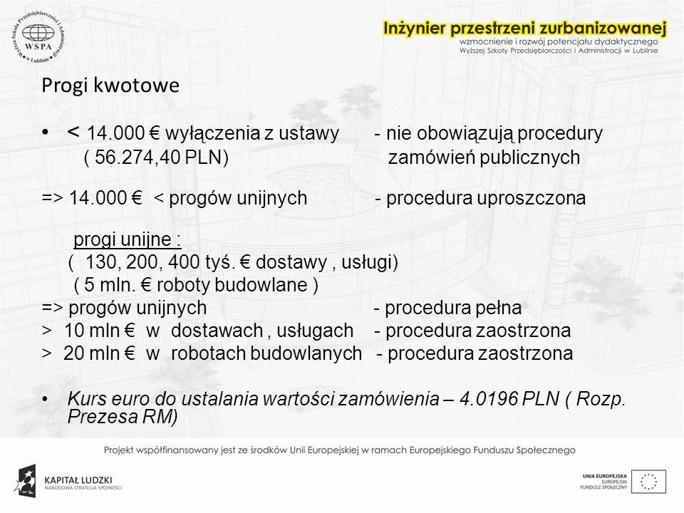 < 14.000 € wyłączenia z ustawy - nie obowiązują procedury