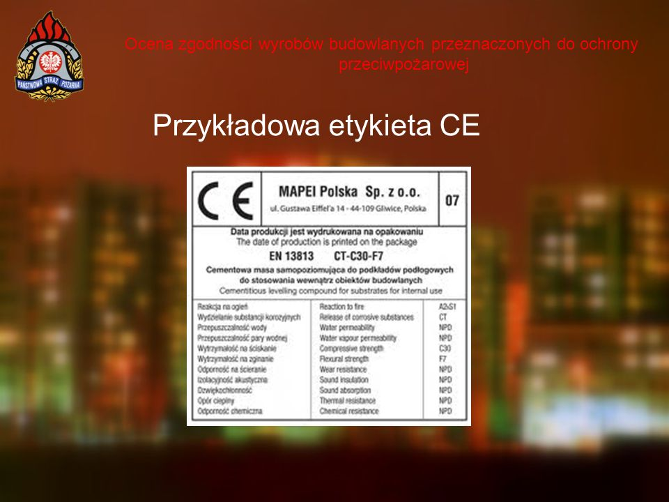Przykładowa etykieta CE