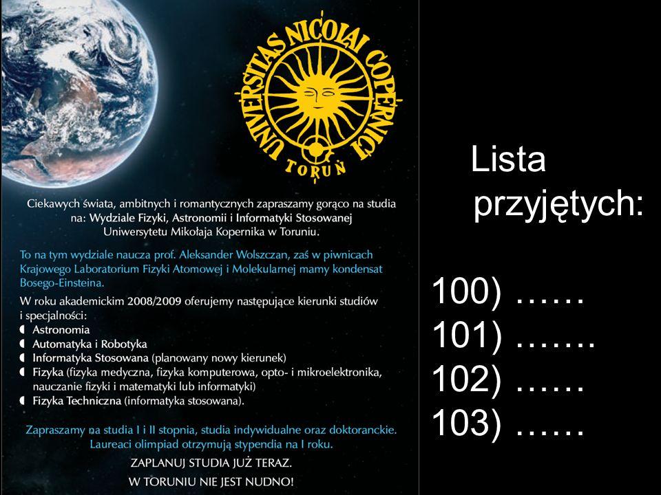 Lista przyjętych: 100) …… 101) ……. 102) …… 103) ……