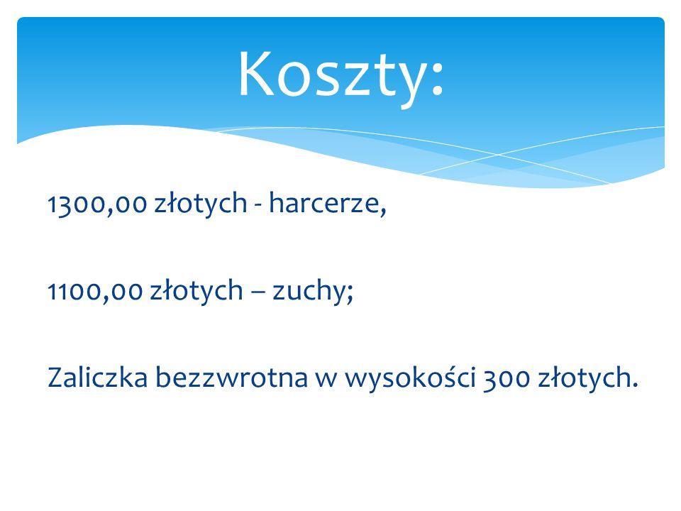 Koszty: 1300,00 złotych - harcerze, 1100,00 złotych – zuchy;