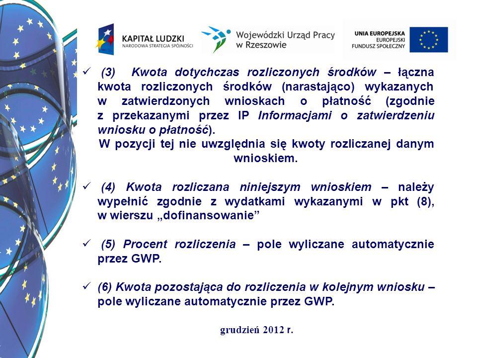(3) Kwota dotychczas rozliczonych środków – łączna kwota rozliczonych środków (narastająco) wykazanych w zatwierdzonych wnioskach o płatność (zgodnie z przekazanymi przez IP Informacjami o zatwierdzeniu wniosku o płatność).