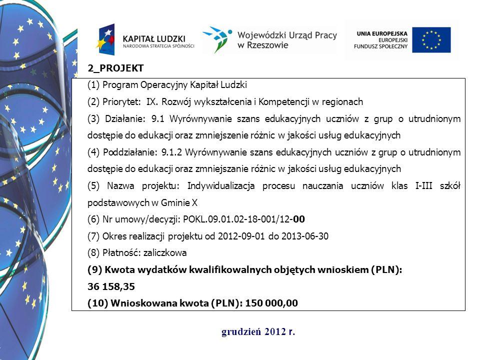 2_PROJEKT (1) Program Operacyjny Kapitał Ludzki. (2) Priorytet: IX. Rozwój wykształcenia i Kompetencji w regionach.