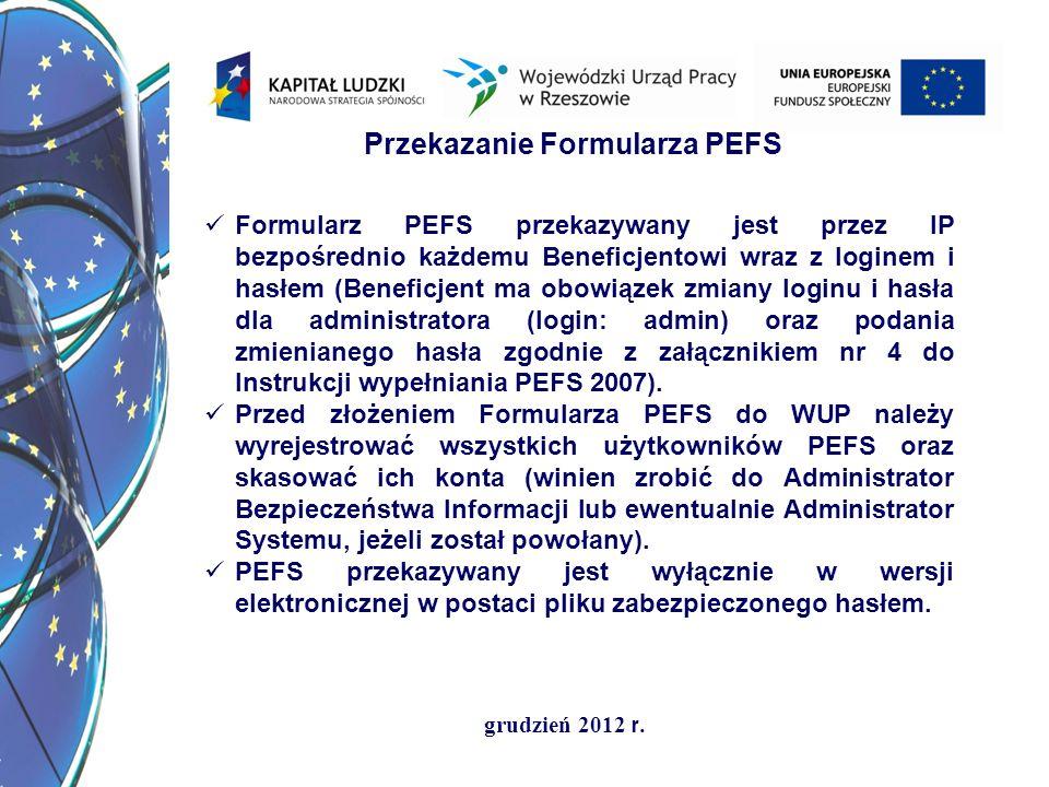 Przekazanie Formularza PEFS