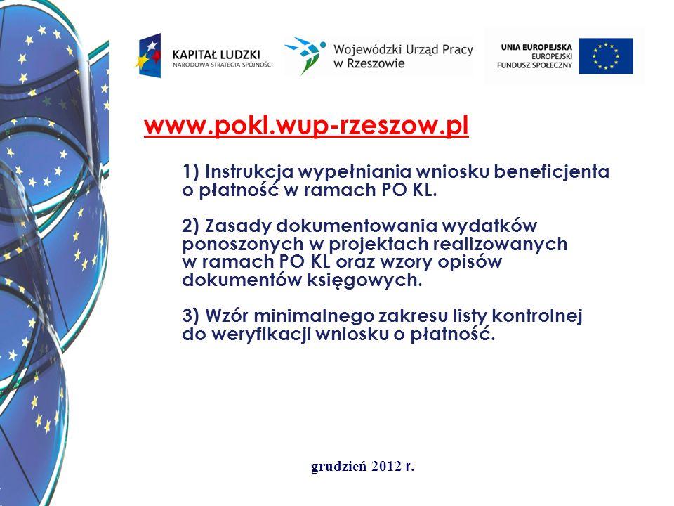www.pokl.wup-rzeszow.pl 1) Instrukcja wypełniania wniosku beneficjenta o płatność w ramach PO KL.