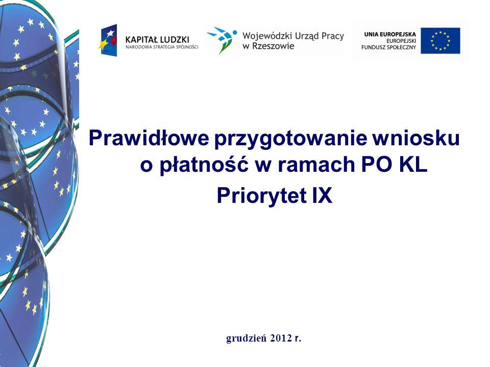 Prawidłowe przygotowanie wniosku o płatność w ramach PO KL