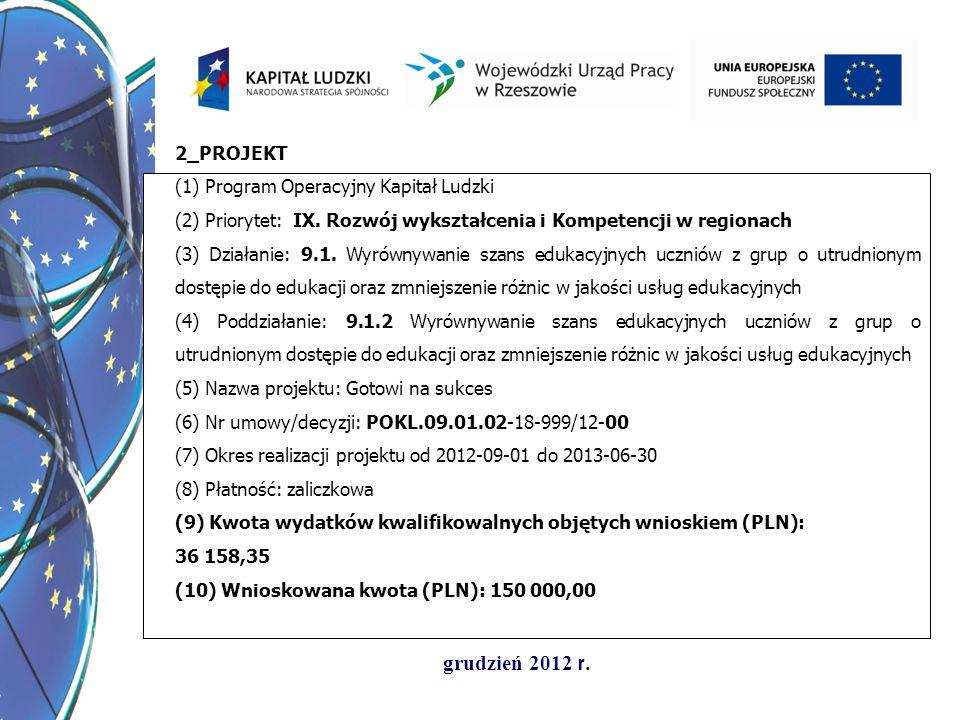 2_PROJEKT(1) Program Operacyjny Kapitał Ludzki. (2) Priorytet: IX. Rozwój wykształcenia i Kompetencji w regionach.