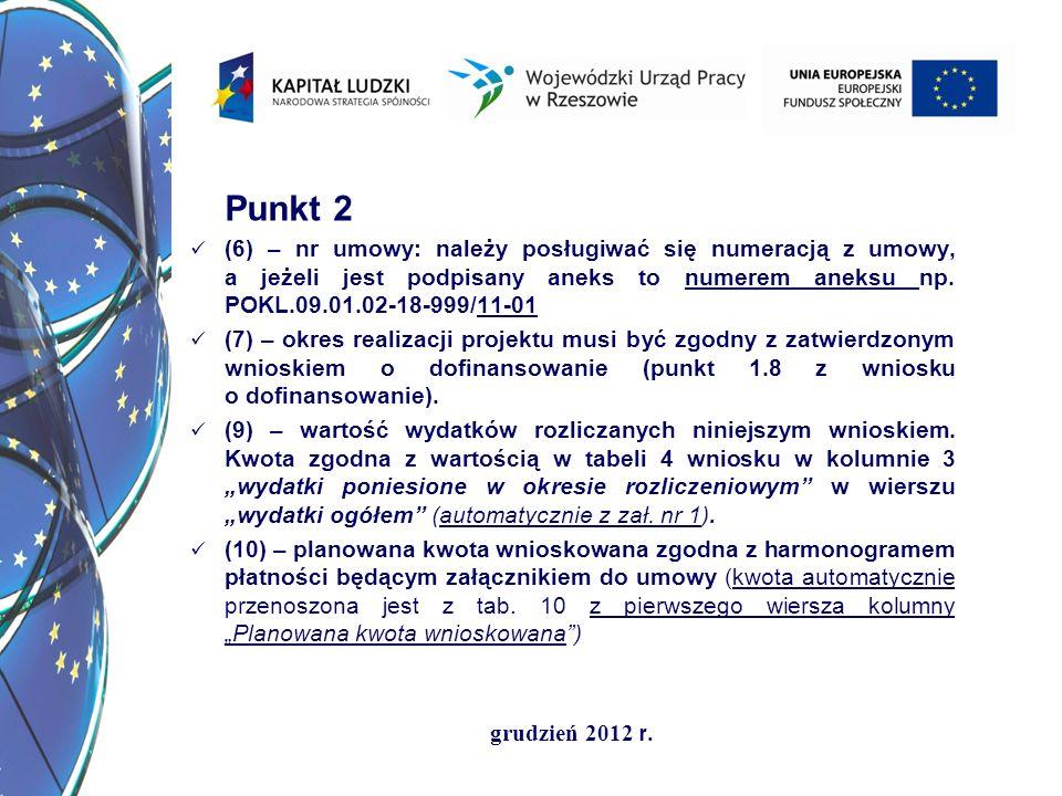 Punkt 2 (6) – nr umowy: należy posługiwać się numeracją z umowy, a jeżeli jest podpisany aneks to numerem aneksu np. POKL.09.01.02-18-999/11-01.