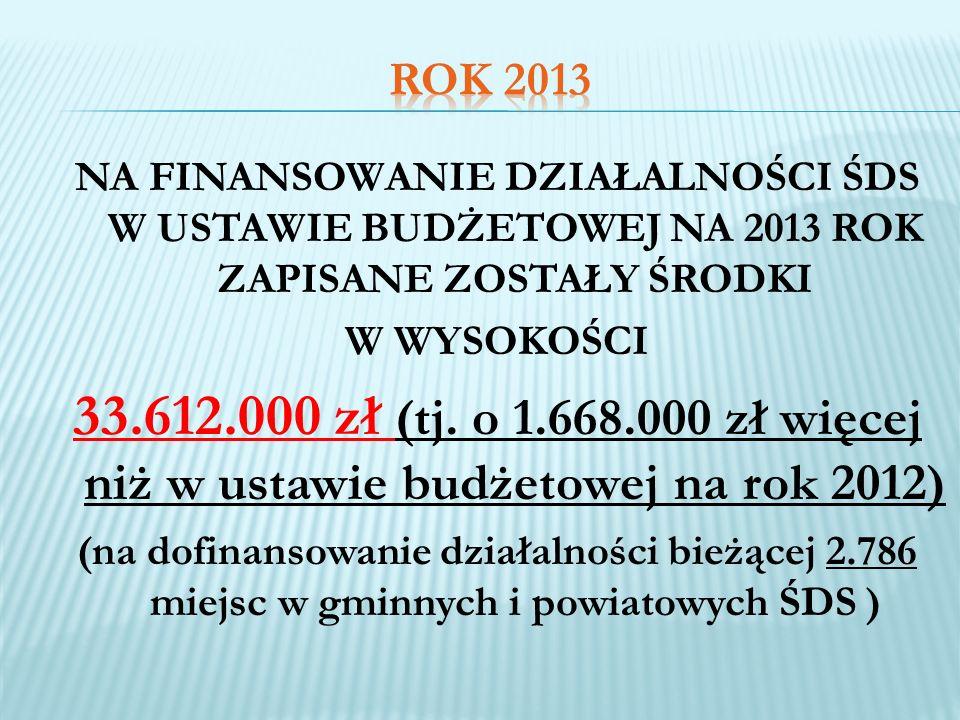 ROK 2013 NA FINANSOWANIE DZIAŁALNOŚCI ŚDS W USTAWIE BUDŻETOWEJ NA 2013 ROK ZAPISANE ZOSTAŁY ŚRODKI.