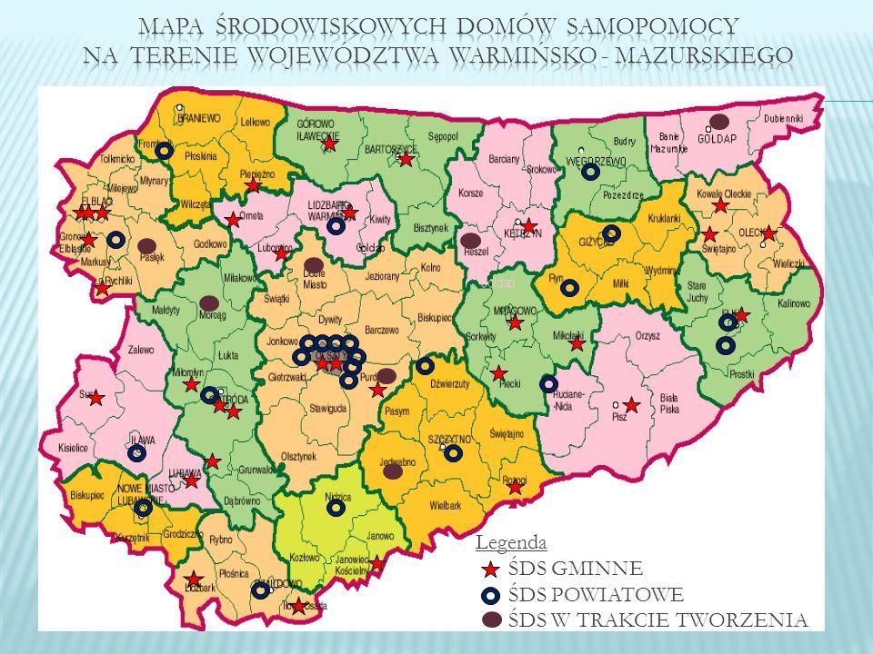 Mapa środowiskowych domów samopomocy na terenie województwa warmińsko - mazurskiego