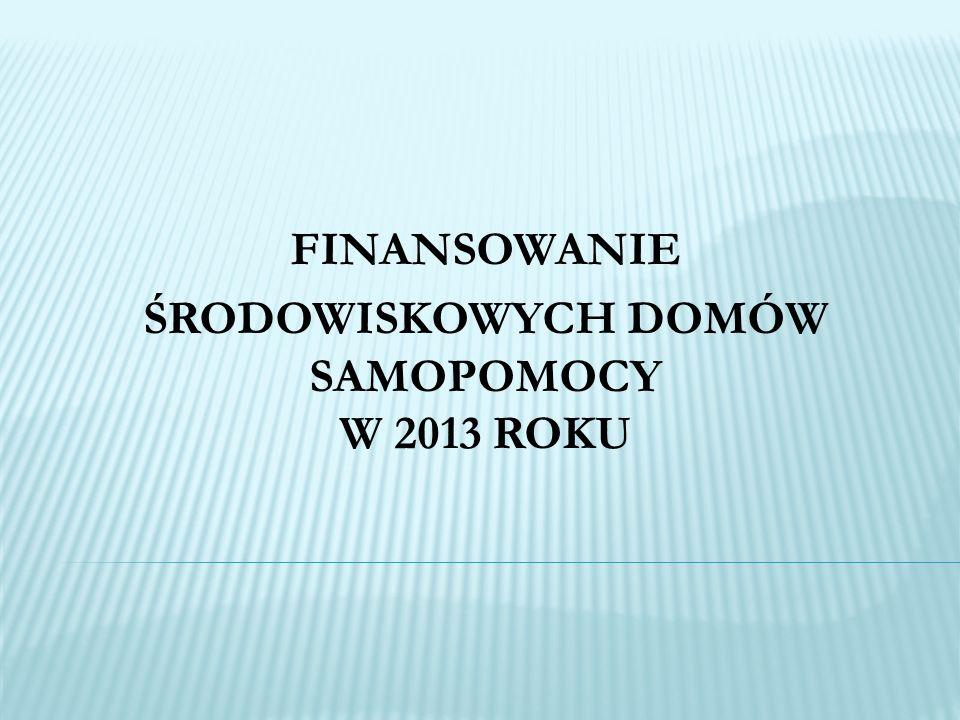 FINANSOWANIE ŚRODOWISKOWYCH DOMÓW SAMOPOMOCY W 2013 ROKU