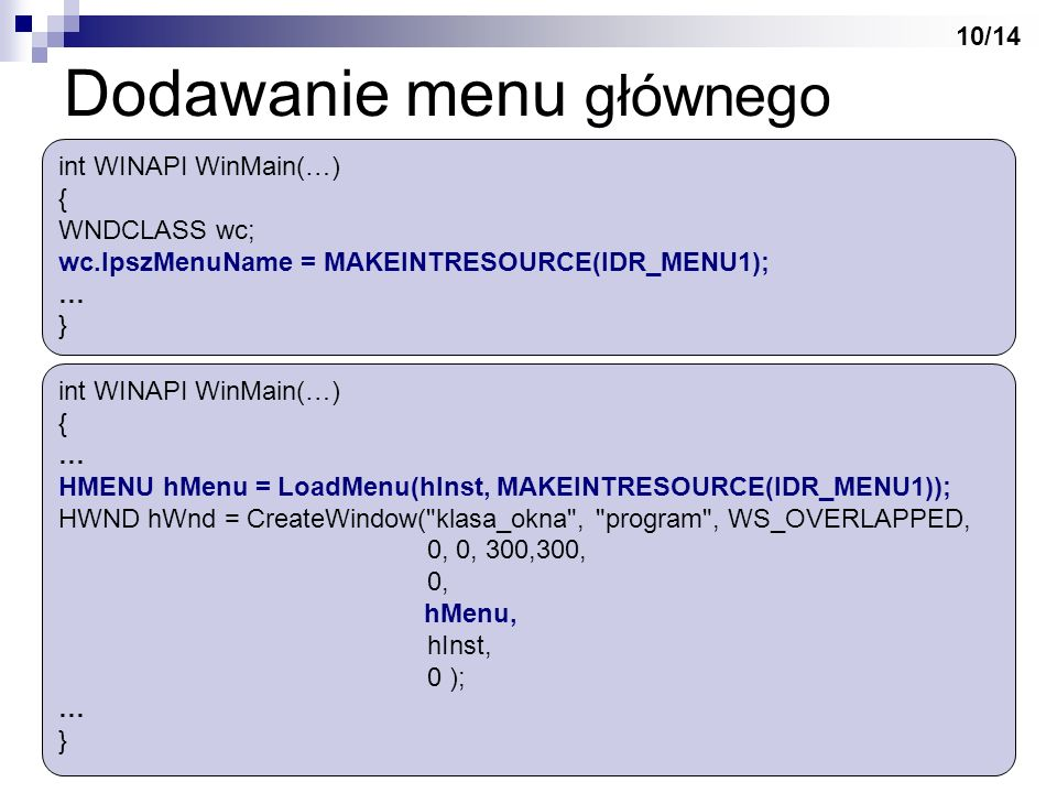 Dodawanie menu głównego