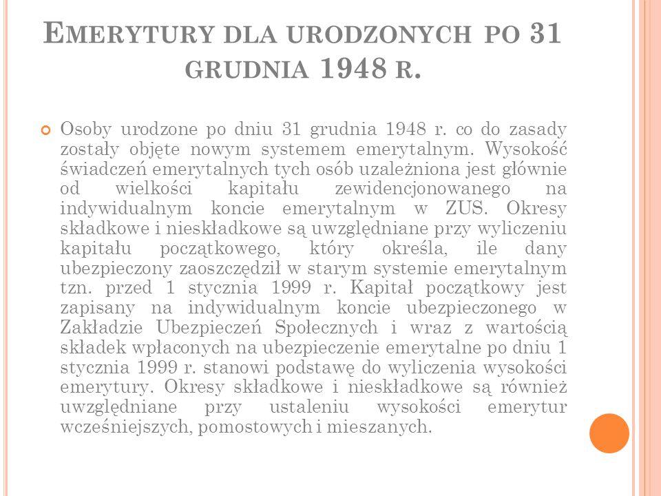 Emerytury dla urodzonych po 31 grudnia 1948 r.