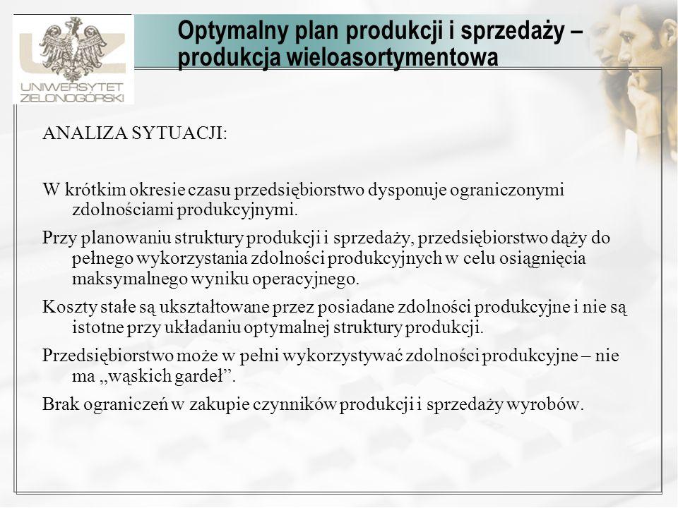 Optymalny plan produkcji i sprzedaży – produkcja wieloasortymentowa