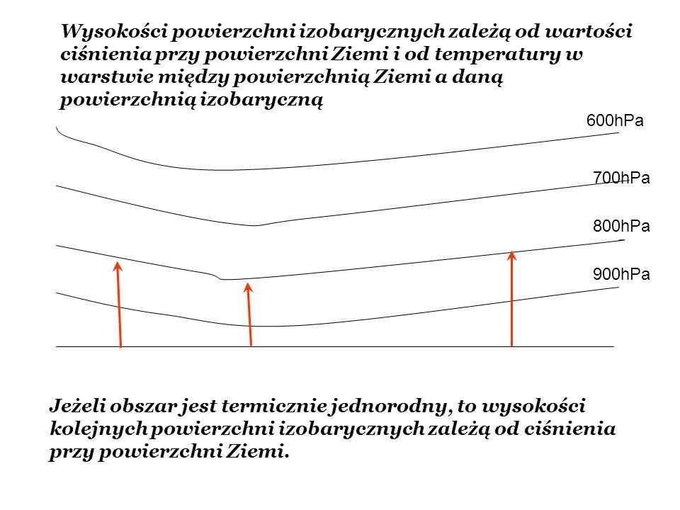 Wysokości powierzchni izobarycznych zależą od wartości ciśnienia przy powierzchni Ziemi i od temperatury w warstwie między powierzchnią Ziemi a daną powierzchnią izobaryczną