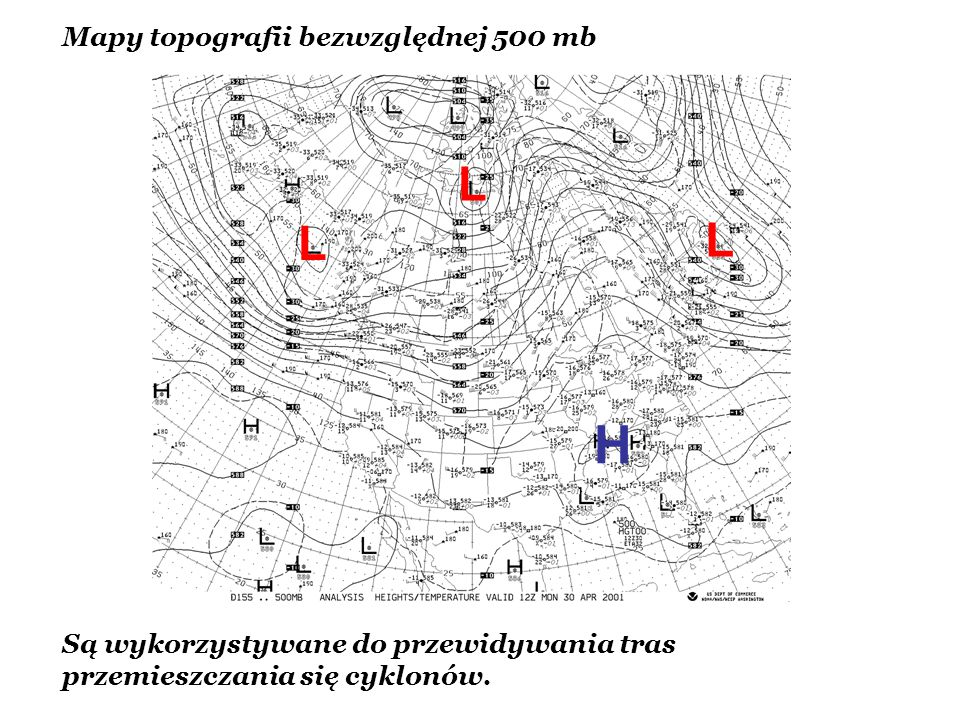 H L L L Mapy topografii bezwzględnej 500 mb