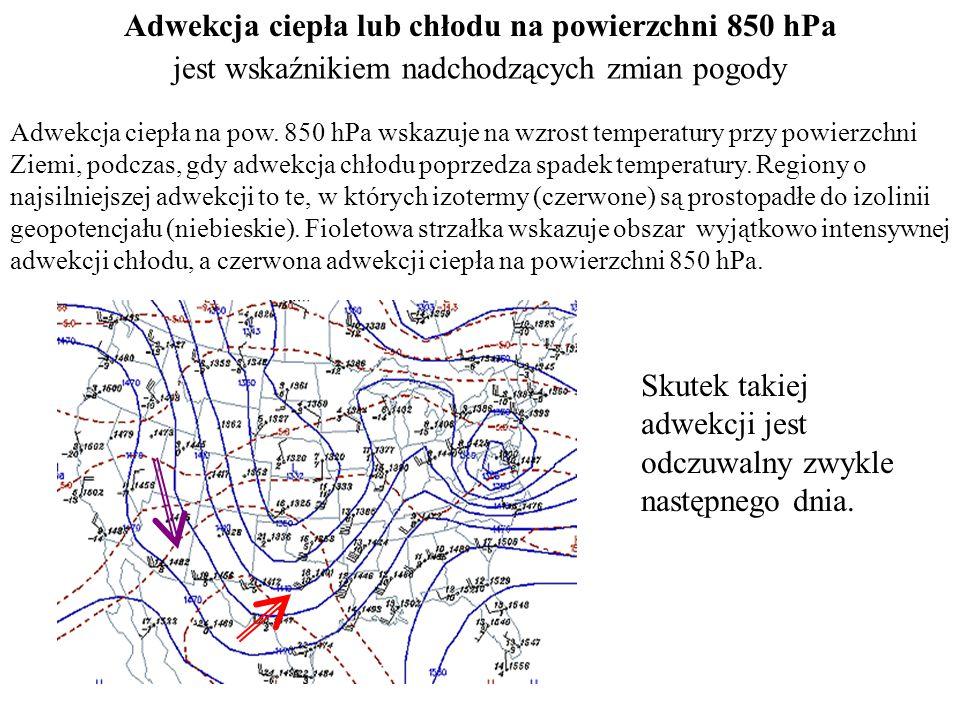 Adwekcja ciepła lub chłodu na powierzchni 850 hPa