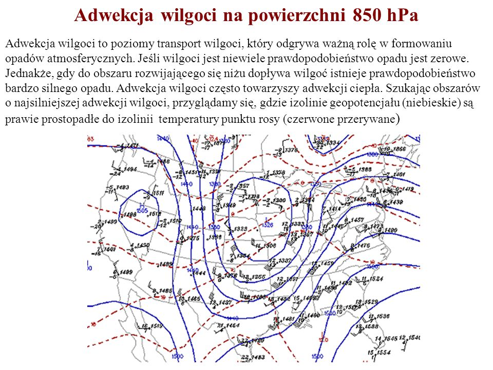 Adwekcja wilgoci na powierzchni 850 hPa