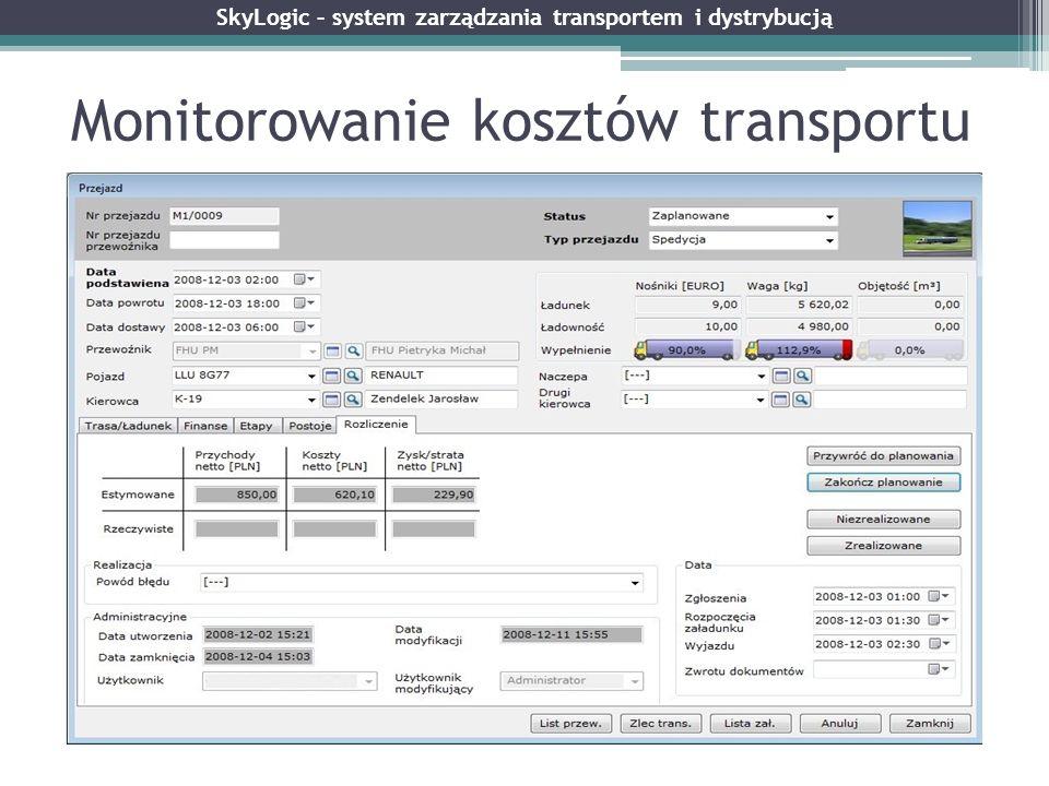 Monitorowanie kosztów transportu