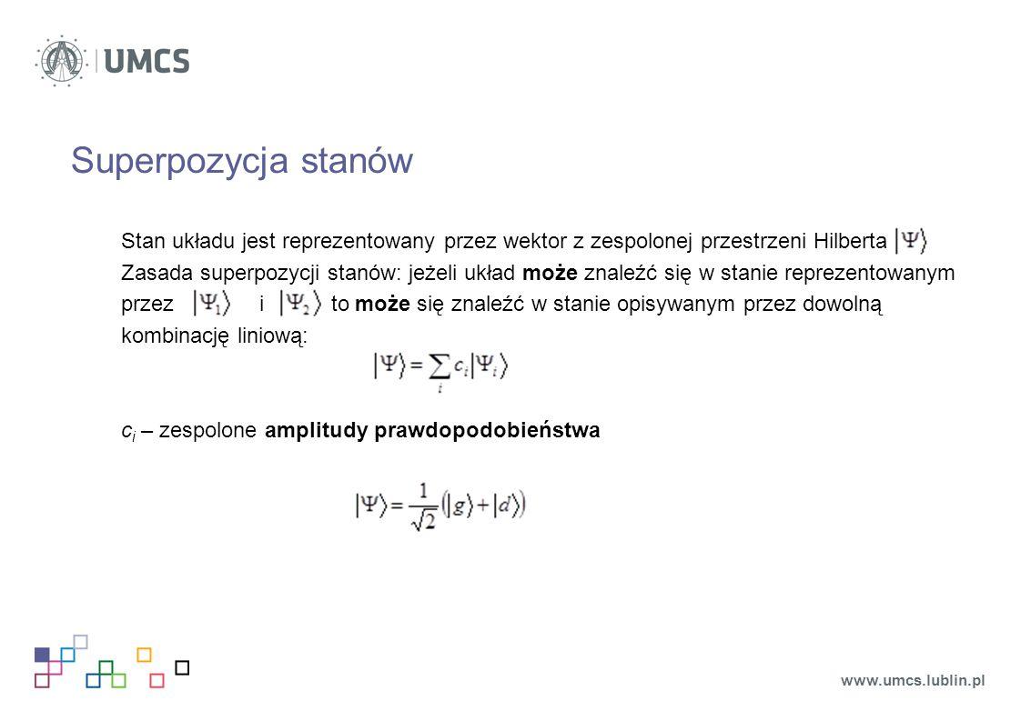 Superpozycja stanów Stan układu jest reprezentowany przez wektor z zespolonej przestrzeni Hilberta.