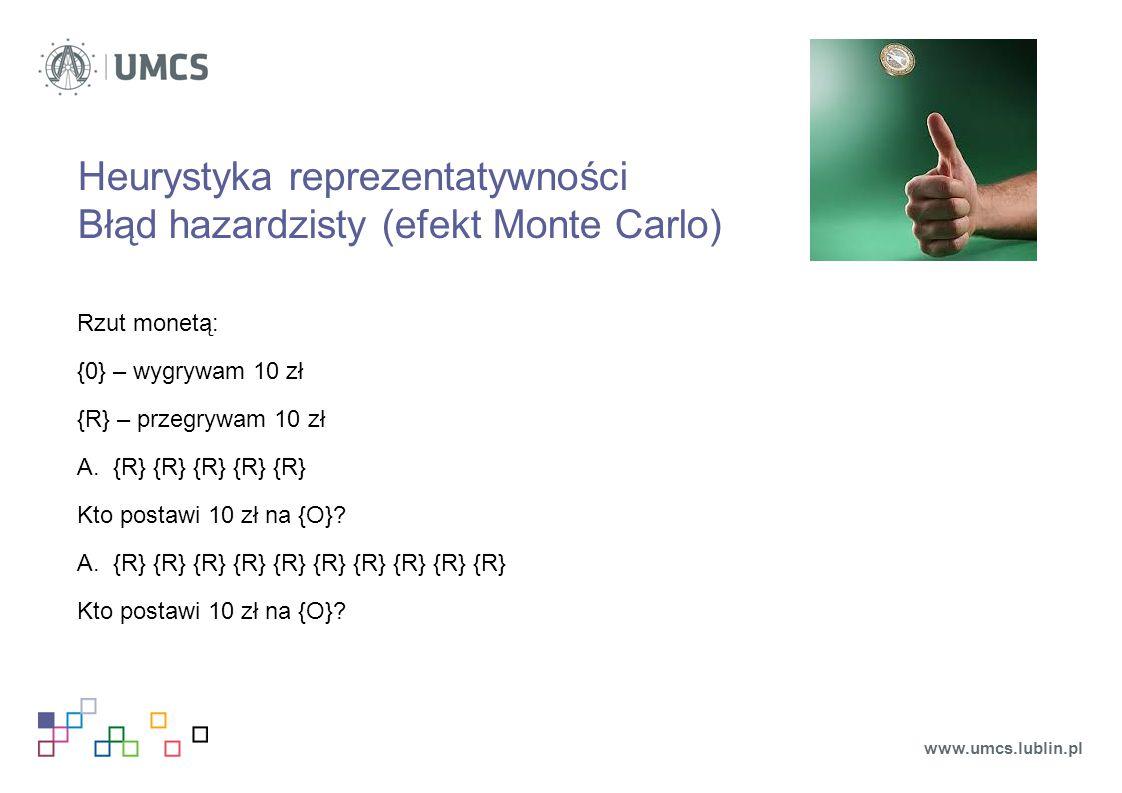 Heurystyka reprezentatywności Błąd hazardzisty (efekt Monte Carlo)