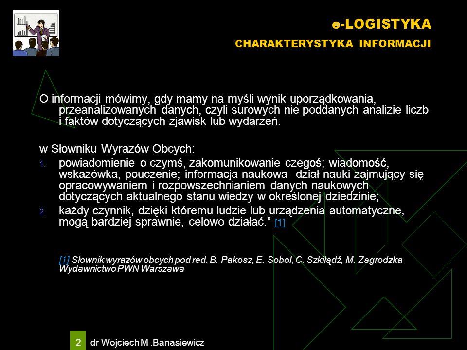 e-LOGISTYKA CHARAKTERYSTYKA INFORMACJI